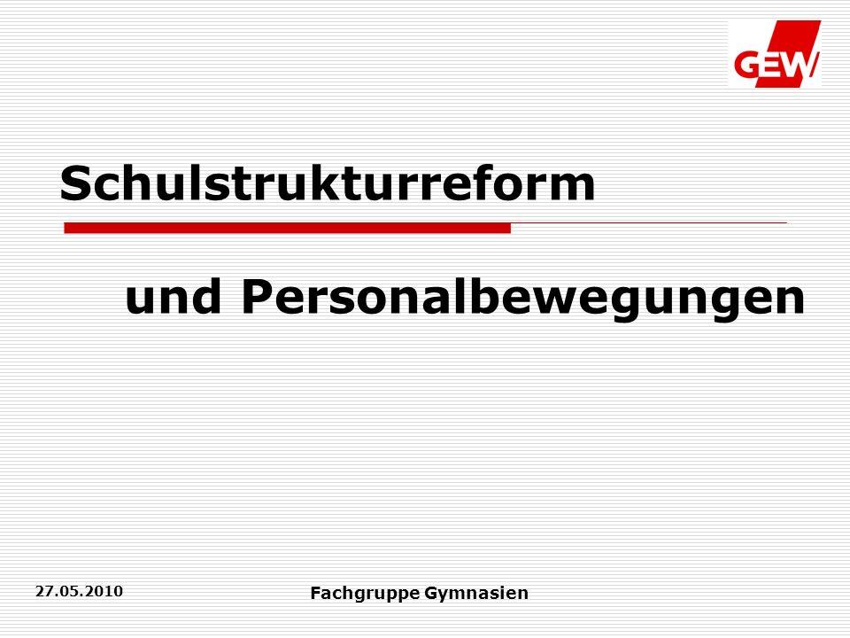 27.05.2010 Fachgruppe Gymnasien Schulstrukturreform und Personalbewegungen