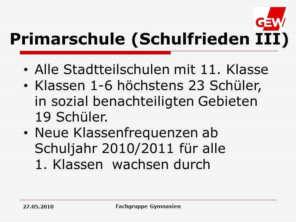 27.05.2010 Fachgruppe Gymnasien Primarschule (Schulfrieden III) Alle Stadtteilschulen mit 11.