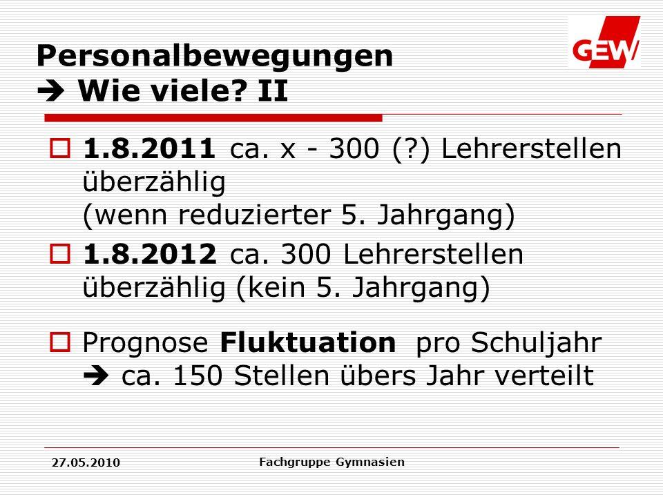 27.05.2010 Fachgruppe Gymnasien Personalbewegungen Wie viele.