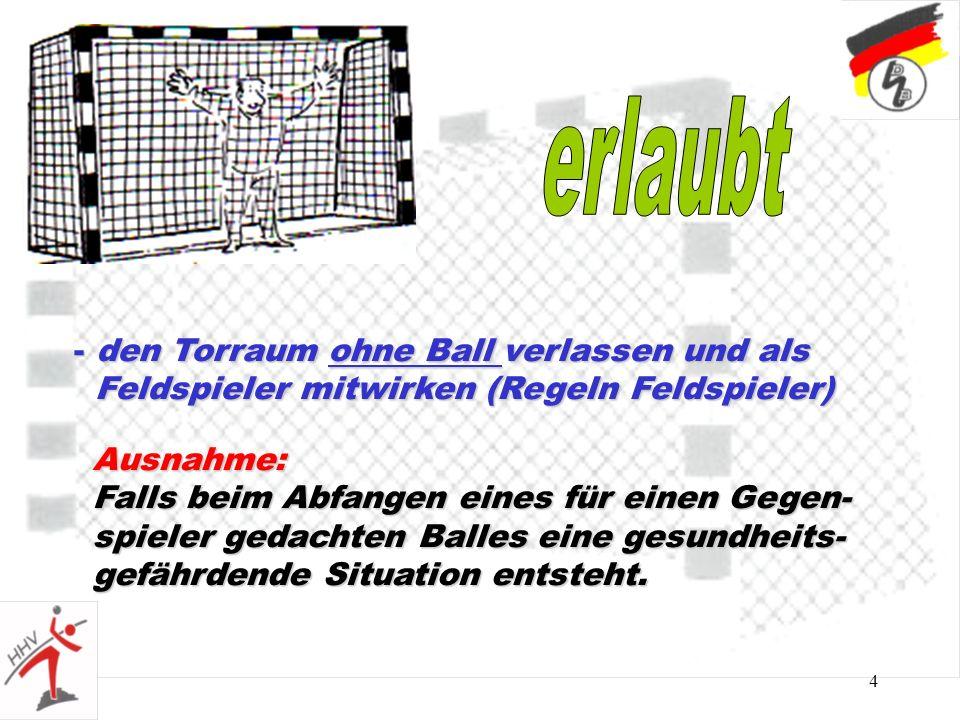 4 - den Torraum ohne Ball verlassen und als Feldspieler mitwirken (Regeln Feldspieler) Feldspieler mitwirken (Regeln Feldspieler) Ausnahme: Falls beim