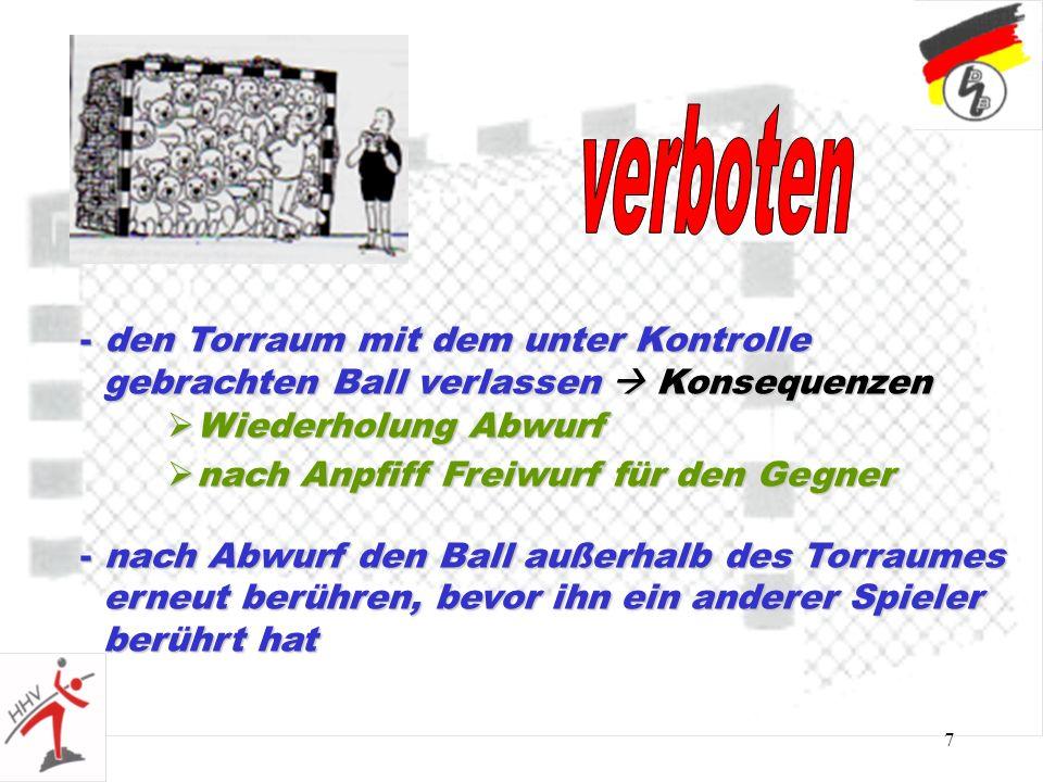 7 - den Torraum mit dem unter Kontrolle gebrachten Ball verlassen Konsequenzen gebrachten Ball verlassen Konsequenzen nach Anpfiff Freiwurf für den Ge