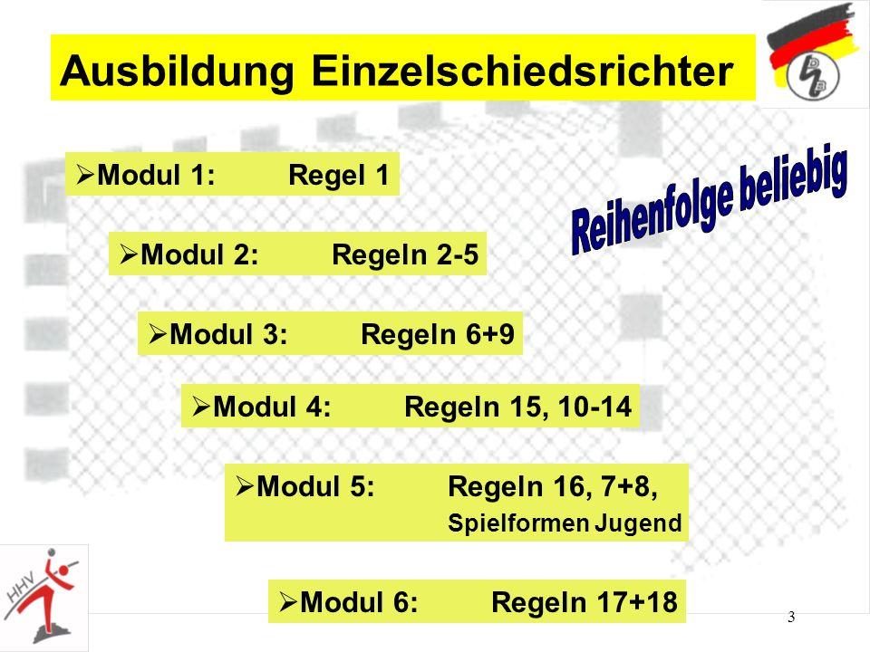 3 Ausbildung Einzelschiedsrichter Modul 1: Regel 1 Modul 2: Regeln 2-5 Modul 3: Regeln 6+9 Modul 4: Regeln 15, 10-14 Modul 5: Regeln 16, 7+8, Spielformen Jugend Modul 6: Regeln 17+18