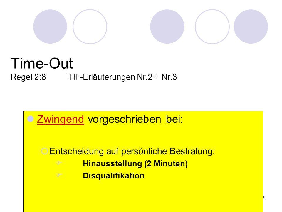 30 Time-Out Regel 2:8IHF-Erläuterungen Nr.2 + Nr.3 Zwingend vorgeschrieben bei: Entscheidung auf persönliche Bestrafung: Hinausstellung (2 Minuten) Di