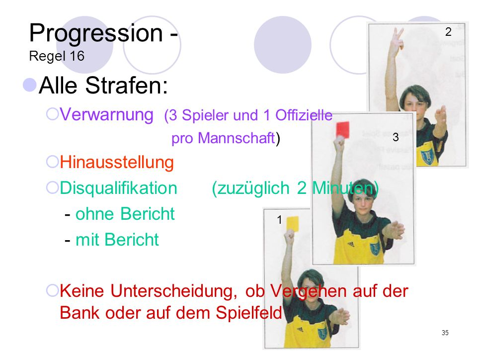 35 Progression - Regel 16 Alle Strafen: Verwarnung (3 Spieler und 1 Offizielle pro Mannschaft) Hinausstellung Disqualifikation(zuzüglich 2 Minuten) -
