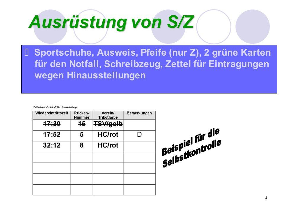 4 Ausrüstung von S/Z Sportschuhe, Ausweis, Pfeife (nur Z), 2 grüne Karten für den Notfall, Schreibzeug, Zettel für Eintragungen wegen Hinausstellungen
