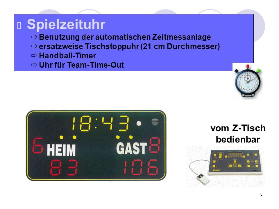 8 Spielzeituhr Benutzung der automatischen Zeitmessanlage ersatzweise Tischstoppuhr (21 cm Durchmesser) Handball-Timer Uhr für Team-Time-Out vom Z-Tis