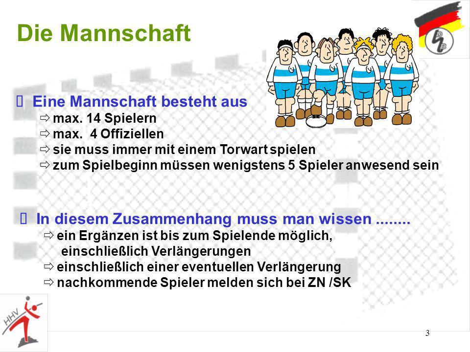 3 Die Mannschaft Eine Mannschaft besteht aus max.14 Spielern max.
