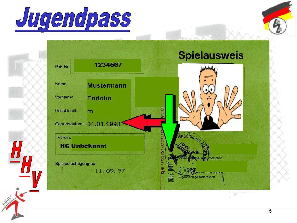 6 Mustermann Fridolin m 01.01.1993 HC Unbekannt 1234567