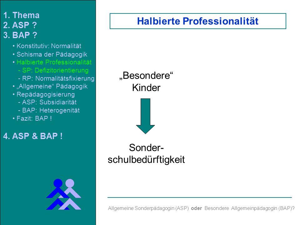 Besondere Kinder Sonder- schulbedürftigkeit Allgemeine Sonderpädagogin (ASP) oder Besondere Allgemeinpädagogin (BAP).