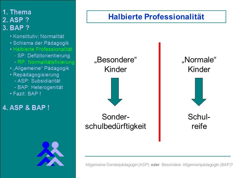 Besondere Kinder Sonder- schulbedürftigkeit Normale Kinder Schul- reife Allgemeine Sonderpädagogin (ASP) oder Besondere Allgemeinpädagogin (BAP).