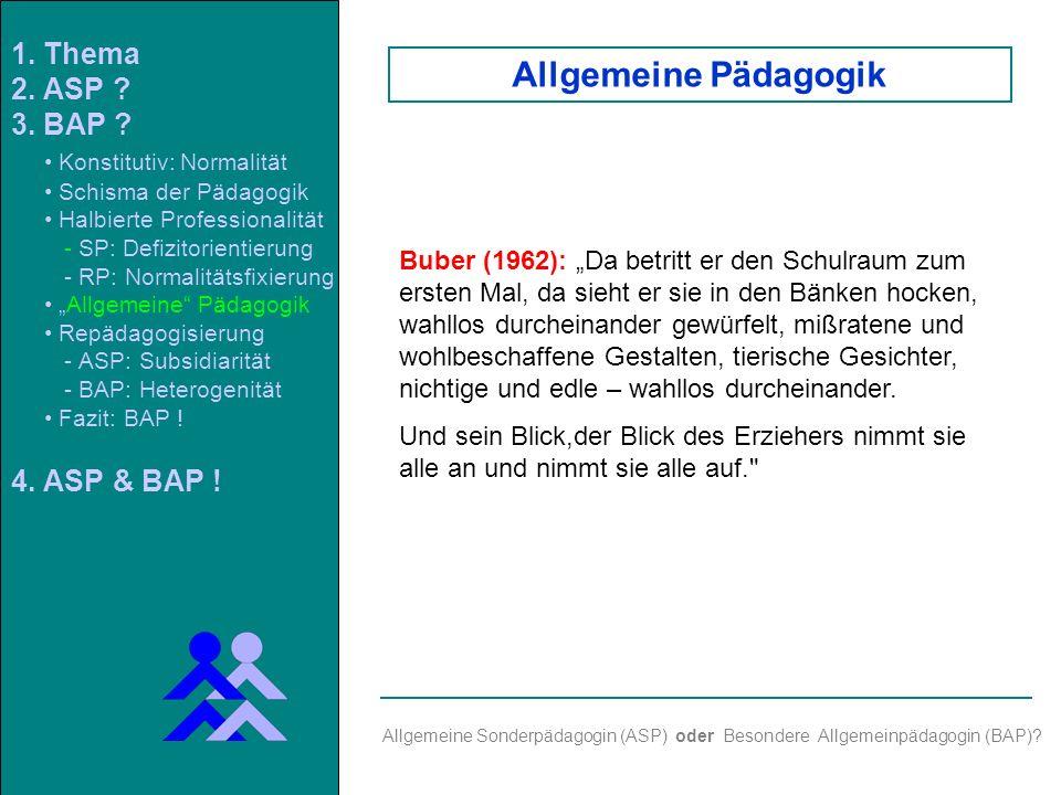 Allgemeine Sonderpädagogin (ASP) oder Besondere Allgemeinpädagogin (BAP).