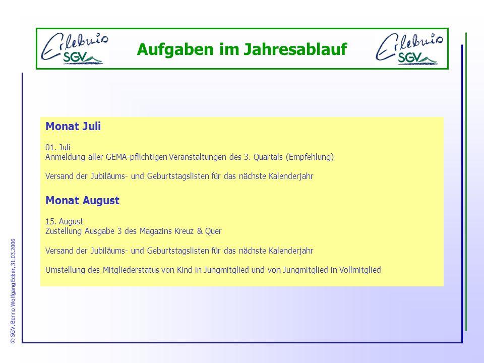 Aufgaben im Jahresablauf Monat Juli 01.