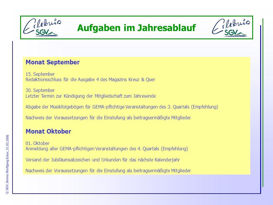 Aufgaben im Jahresablauf Monat September 15.