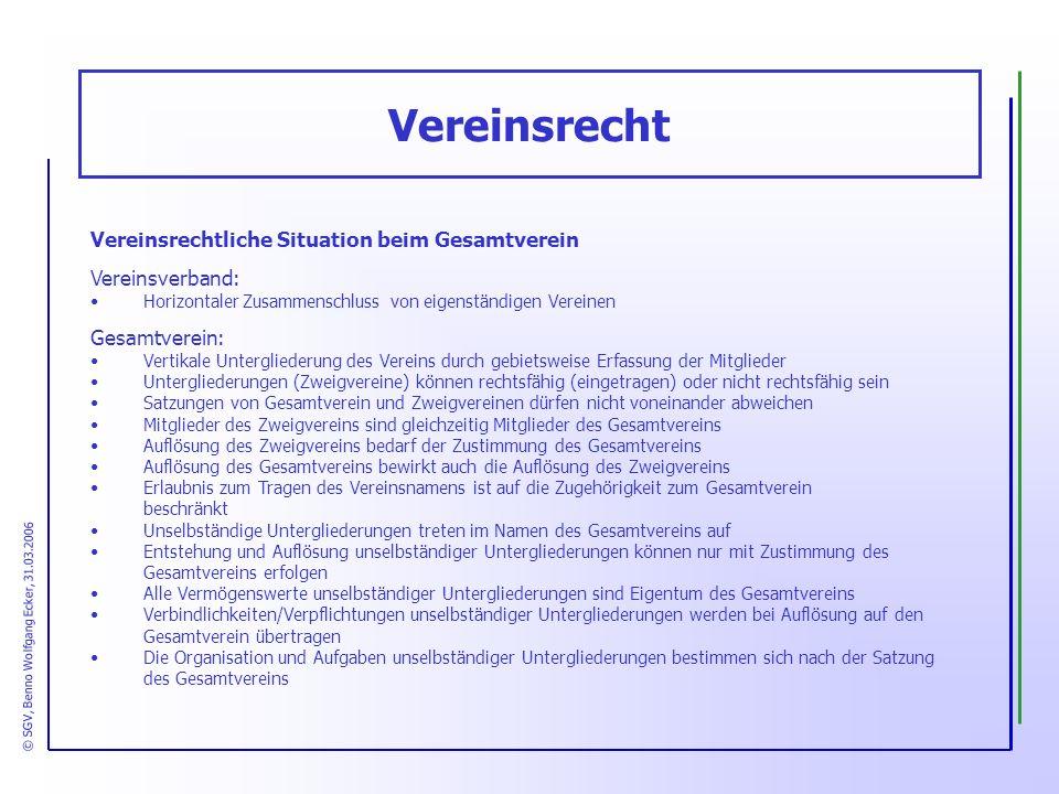 Vereinsrechtliche Situation beim Gesamtverein Vereinsverband: Horizontaler Zusammenschluss von eigenständigen Vereinen Gesamtverein: Vertikale Untergl