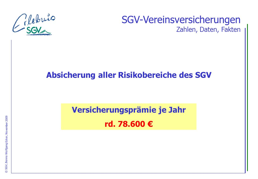 Versicherungsprämie je Jahr rd. 78.600 SGV-Vereinsversicherungen Zahlen, Daten, Fakten Absicherung aller Risikobereiche des SGV © SGV, Benno Wolfgang