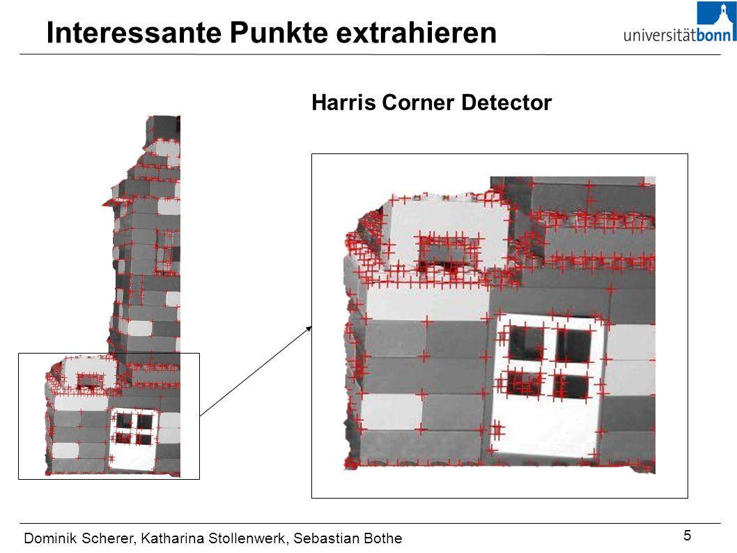 Interessante Punkte extrahieren Dominik Scherer, Katharina Stollenwerk, Sebastian Bothe 5 Harris Corner Detector