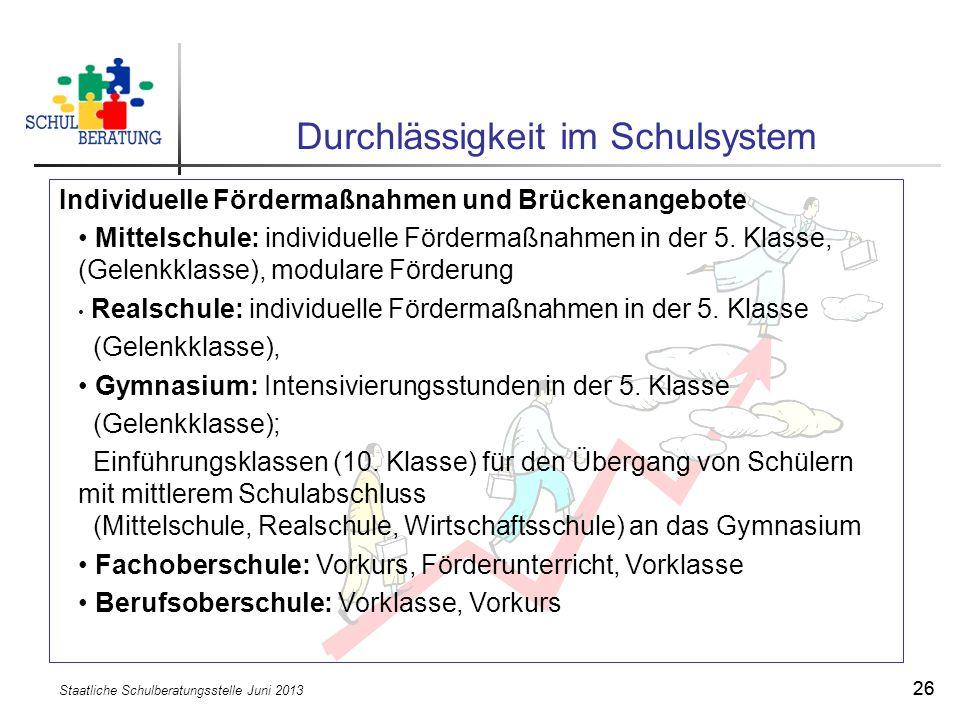 Staatliche Schulberatungsstelle Juni 2013 26 Durchlässigkeit im Schulsystem Individuelle Fördermaßnahmen und Brückenangebote Mittelschule: individuell