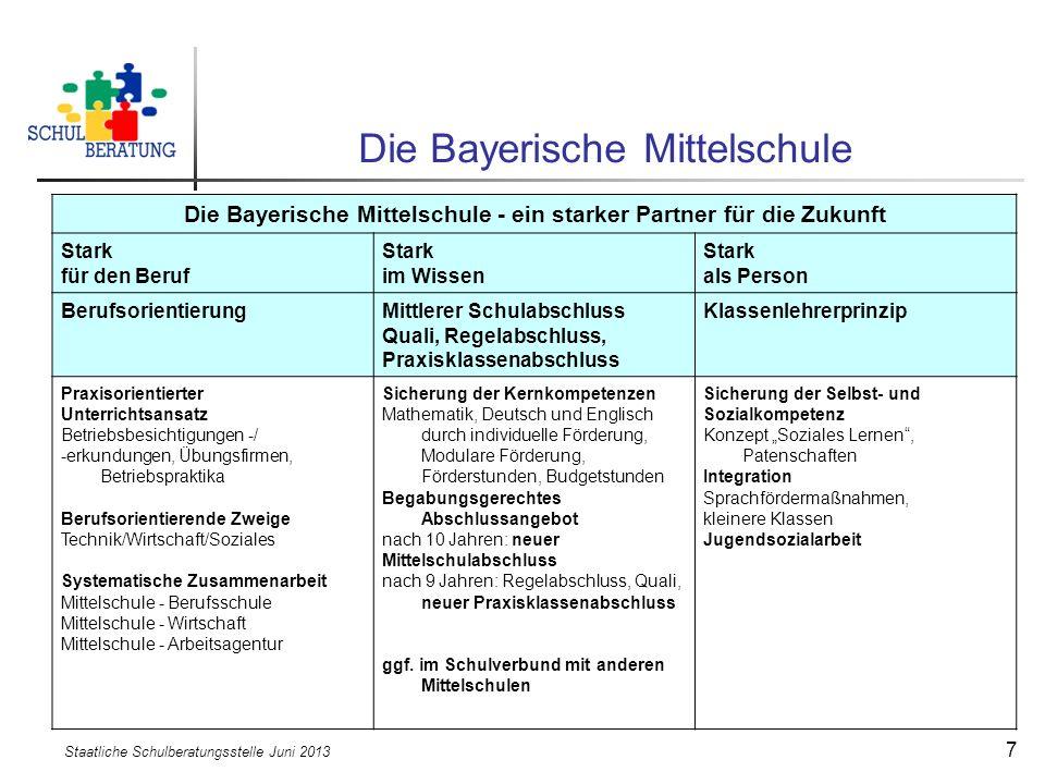 Staatliche Schulberatungsstelle Juni 2013 7 Die Bayerische Mittelschule Die Bayerische Mittelschule - ein starker Partner für die Zukunft Stark für de