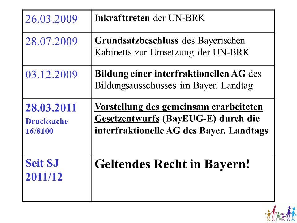 26.03.2009 Inkrafttreten der UN-BRK 28.07.2009 Grundsatzbeschluss des Bayerischen Kabinetts zur Umsetzung der UN-BRK 03.12.2009 Bildung einer interfra