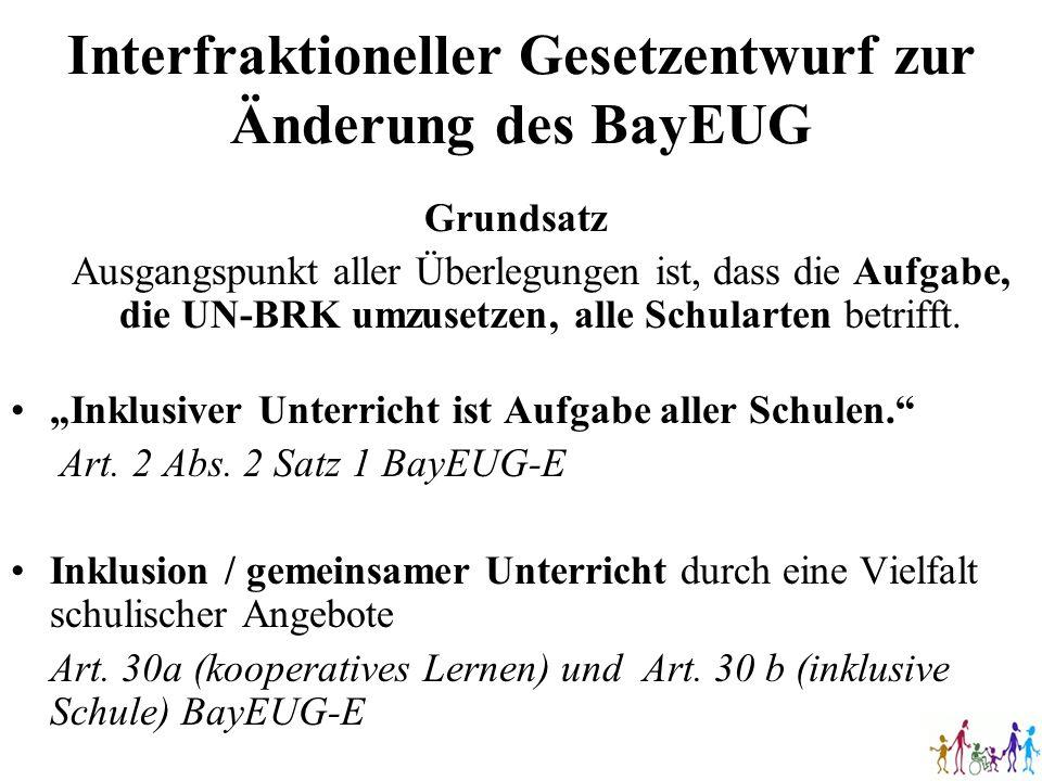 Interfraktioneller Gesetzentwurf zur Änderung des BayEUG Grundsatz Ausgangspunkt aller Überlegungen ist, dass die Aufgabe, die UN-BRK umzusetzen, alle
