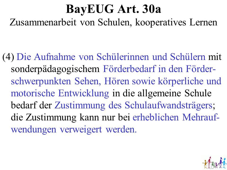 BayEUG Art. 30a Zusammenarbeit von Schulen, kooperatives Lernen (4) Die Aufnahme von Schülerinnen und Schülern mit sonderpädagogischem Förderbedarf in