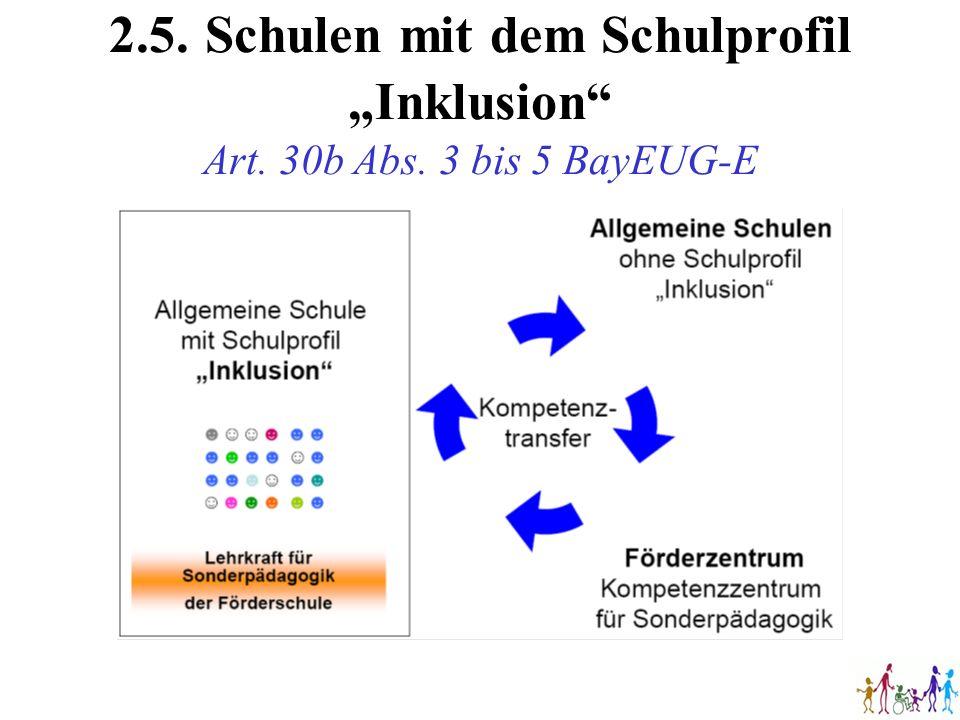 2.5.Schulen mit dem Schulprofil Inklusion Art. 30b Abs. 3 bis 5 BayEUG-E