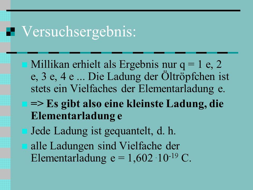 Versuchsergebnis: Millikan erhielt als Ergebnis nur q = 1 e, 2 e, 3 e, 4 e...