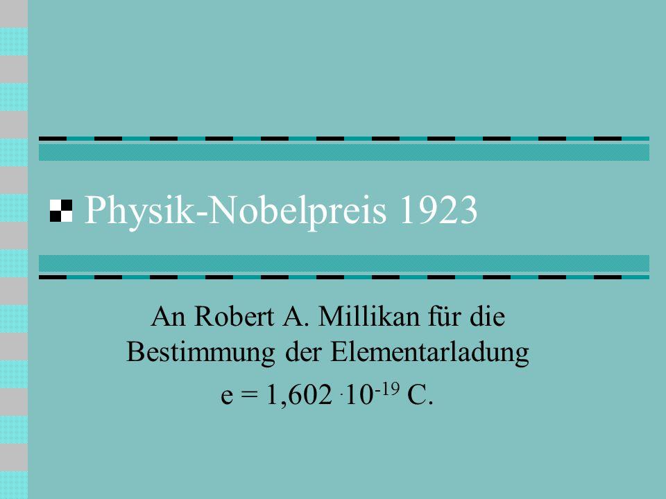 Physik-Nobelpreis 1923 An Robert A. Millikan für die Bestimmung der Elementarladung e = 1,602.