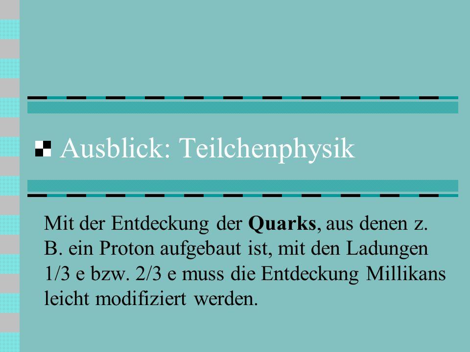 Ausblick: Teilchenphysik Mit der Entdeckung der Quarks, aus denen z.