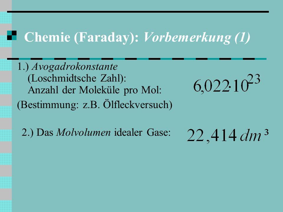 Chemie (Faraday): Vorbemerkung (1) 1.) Avogadrokonstante (Loschmidtsche Zahl): Anzahl der Moleküle pro Mol: (Bestimmung: z.B.