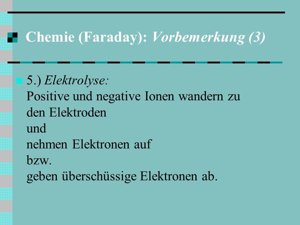 Chemie (Faraday): Vorbemerkung (3) 5.) Elektrolyse: Positive und negative Ionen wandern zu den Elektroden und nehmen Elektronen auf bzw.