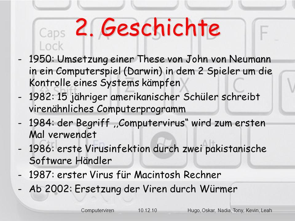 2. Geschichte -1950: Umsetzung einer These von John von Neumann in ein Computerspiel (Darwin) in dem 2 Spieler um die Kontrolle eines Systems kämpfen