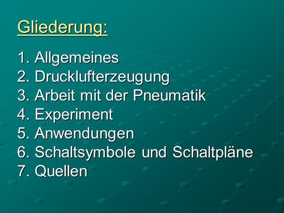 Gliederung: 1. Allgemeines 2. Drucklufterzeugung 3. Arbeit mit der Pneumatik 4. Experiment 5. Anwendungen 6. Schaltsymbole und Schaltpläne 7. Quellen