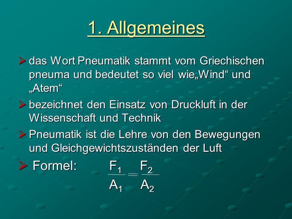 1. Allgemeines das Wort Pneumatik stammt vom Griechischen pneuma und bedeutet so viel wieWind und Atem das Wort Pneumatik stammt vom Griechischen pneu