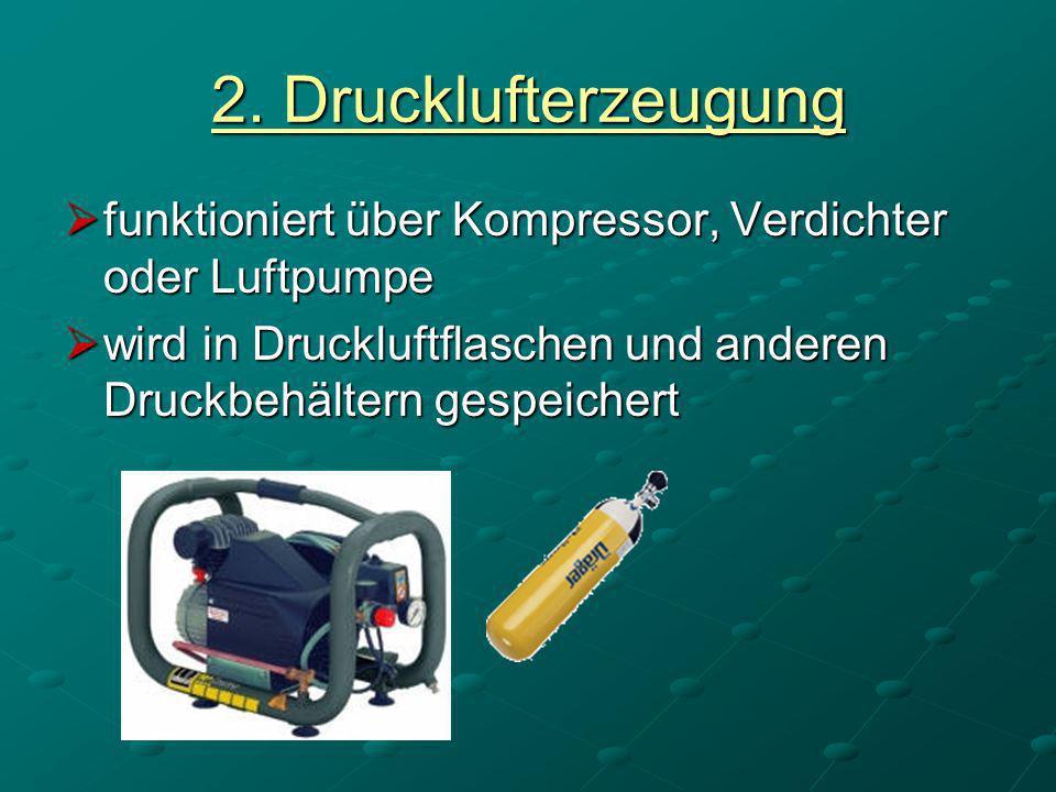 2. Drucklufterzeugung funktioniert über Kompressor, Verdichter oder Luftpumpe funktioniert über Kompressor, Verdichter oder Luftpumpe wird in Druckluf