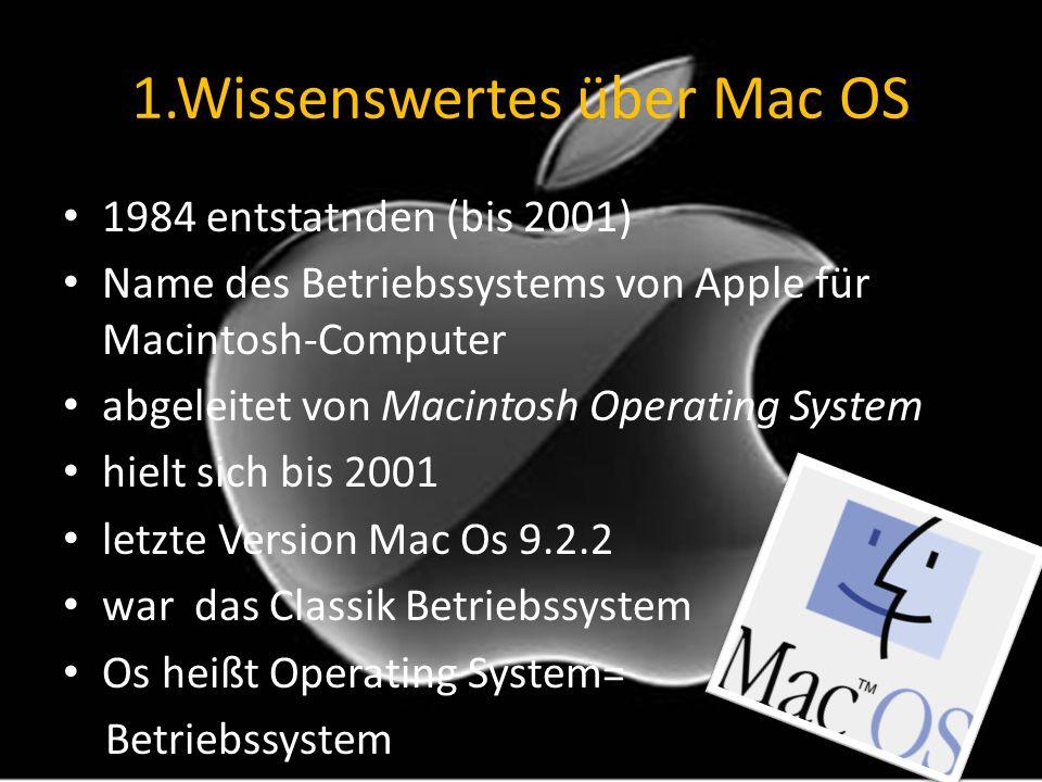 1.Wissenswertes über Mac OS 1984 entstatnden (bis 2001) Name des Betriebssystems von Apple für Macintosh-Computer abgeleitet von Macintosh Operating S