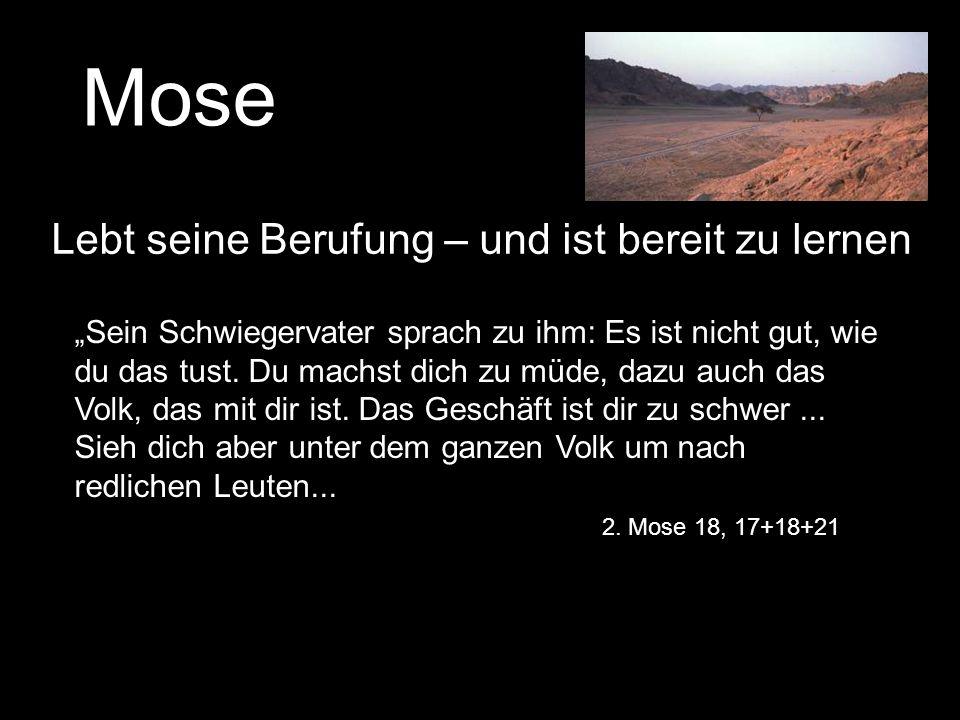 Mose Lebt seine Berufung – und ist bereit zu lernen Sein Schwiegervater sprach zu ihm: Es ist nicht gut, wie du das tust. Du machst dich zu müde, dazu