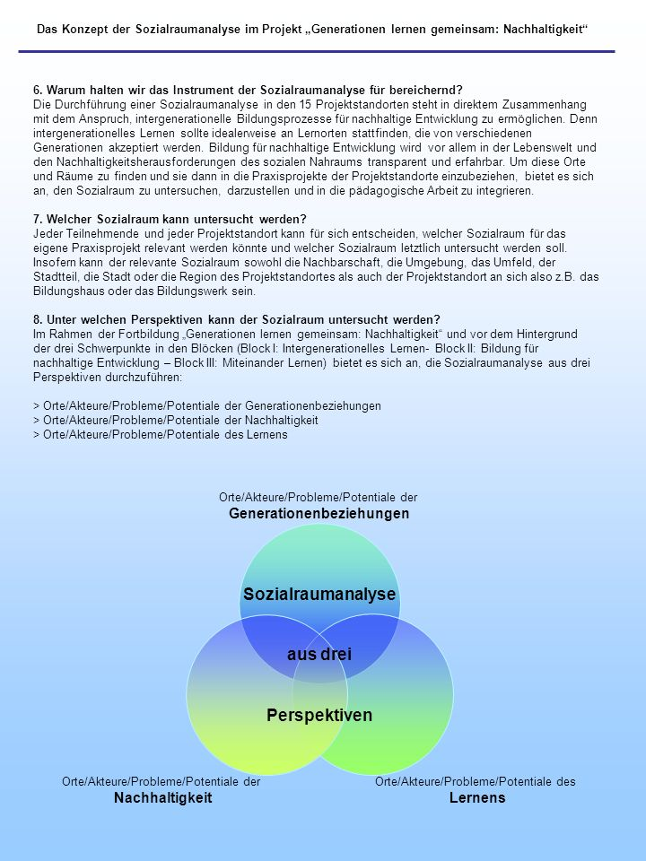 Das Konzept der Sozialraumanalyse im Projekt Generationen lernen gemeinsam: Nachhaltigkeit 6. Warum halten wir das Instrument der Sozialraumanalyse fü