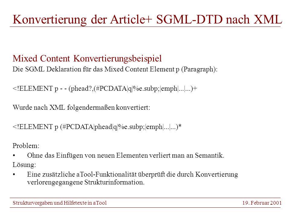 Strukturvorgaben und Hilfetexte in aTool19.