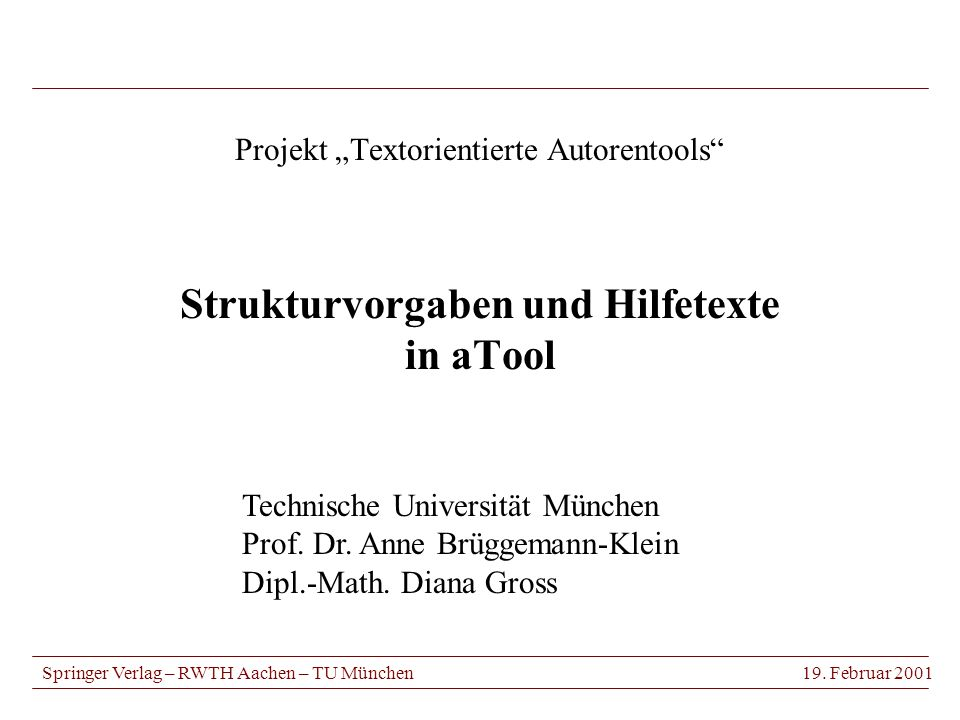 Projekt Textorientierte Autorentools Strukturvorgaben und Hilfetexte in aTool Springer Verlag – RWTH Aachen – TU München19.
