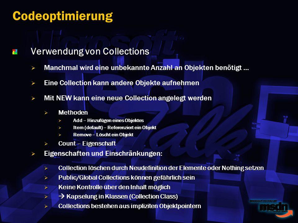 Verwendung von Collections Manchmal wird eine unbekannte Anzahl an Objekten benötigt...