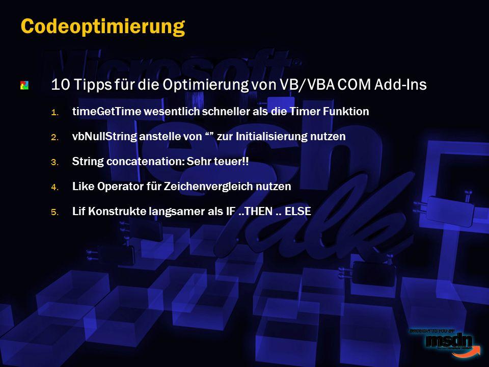 10 Tipps für die Optimierung von VB/VBA COM Add-Ins 1.