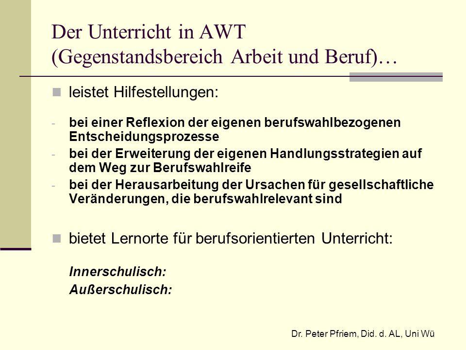 Der Unterricht in AWT (Gegenstandsbereich Arbeit und Beruf)… leistet Hilfestellungen: - bei einer Reflexion der eigenen berufswahlbezogenen Entscheidu