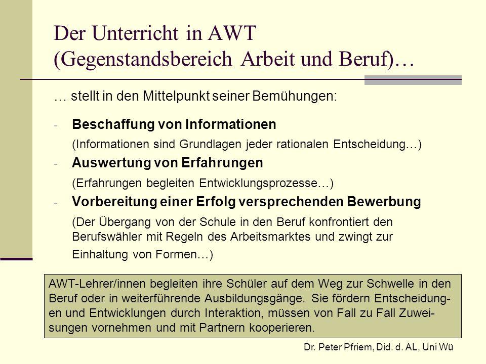 Der Unterricht in AWT (Gegenstandsbereich Arbeit und Beruf)… … stellt in den Mittelpunkt seiner Bemühungen: - Beschaffung von Informationen (Informati