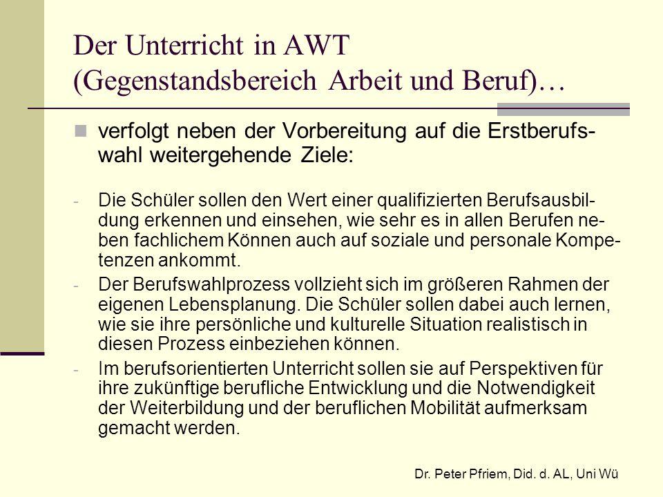 Der Unterricht in AWT (Gegenstandsbereich Arbeit und Beruf)… verfolgt neben der Vorbereitung auf die Erstberufs- wahl weitergehende Ziele: - Die Schül