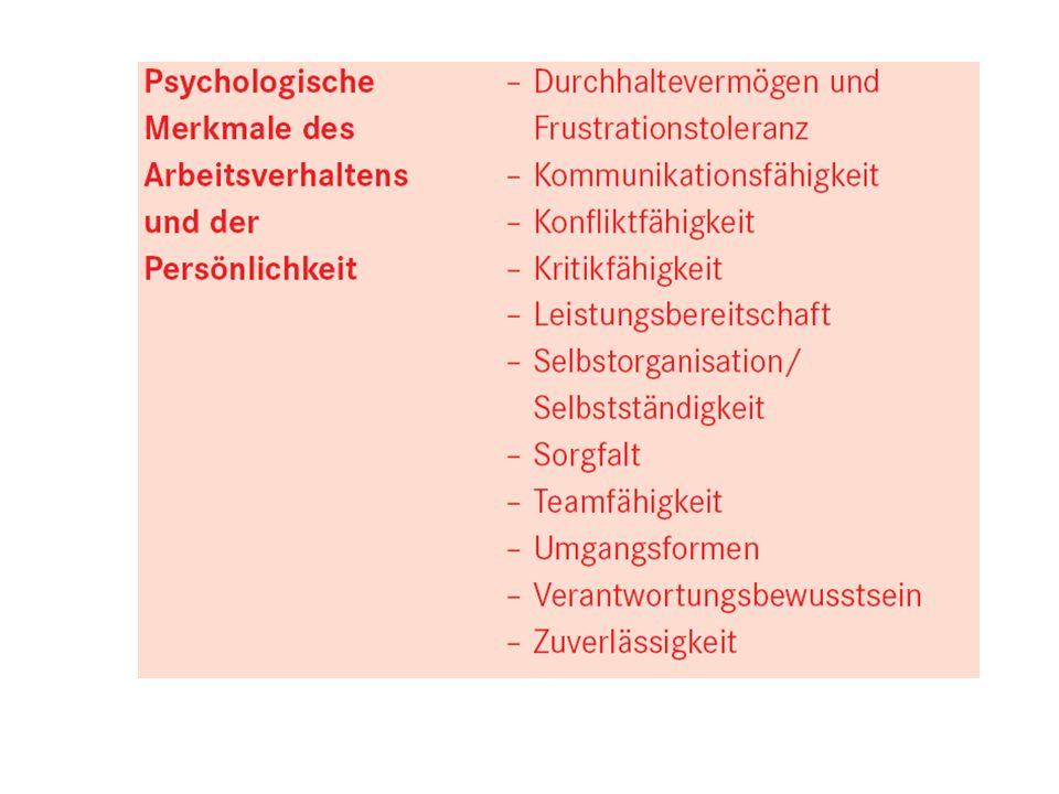 (Bundesagentur für Arbeit: Kriterienkatalog zur Ausbildungsreife 2006)