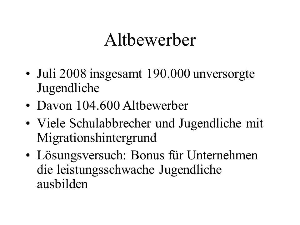 Altbewerber Juli 2008 insgesamt 190.000 unversorgte Jugendliche Davon 104.600 Altbewerber Viele Schulabbrecher und Jugendliche mit Migrationshintergru