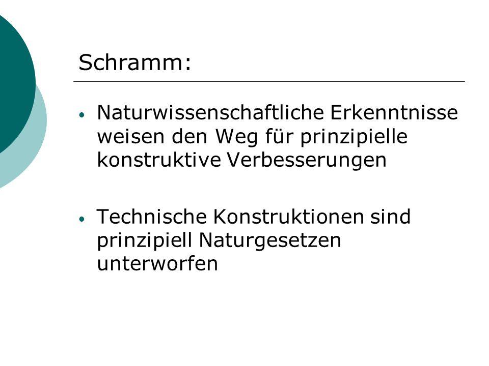 Schramm: Naturwissenschaftliche Erkenntnisse weisen den Weg für prinzipielle konstruktive Verbesserungen Technische Konstruktionen sind prinzipiell Na