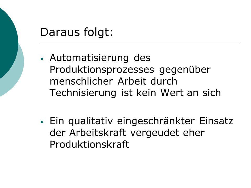Daraus folgt: Automatisierung des Produktionsprozesses gegenüber menschlicher Arbeit durch Technisierung ist kein Wert an sich Ein qualitativ eingeschränkter Einsatz der Arbeitskraft vergeudet eher Produktionskraft