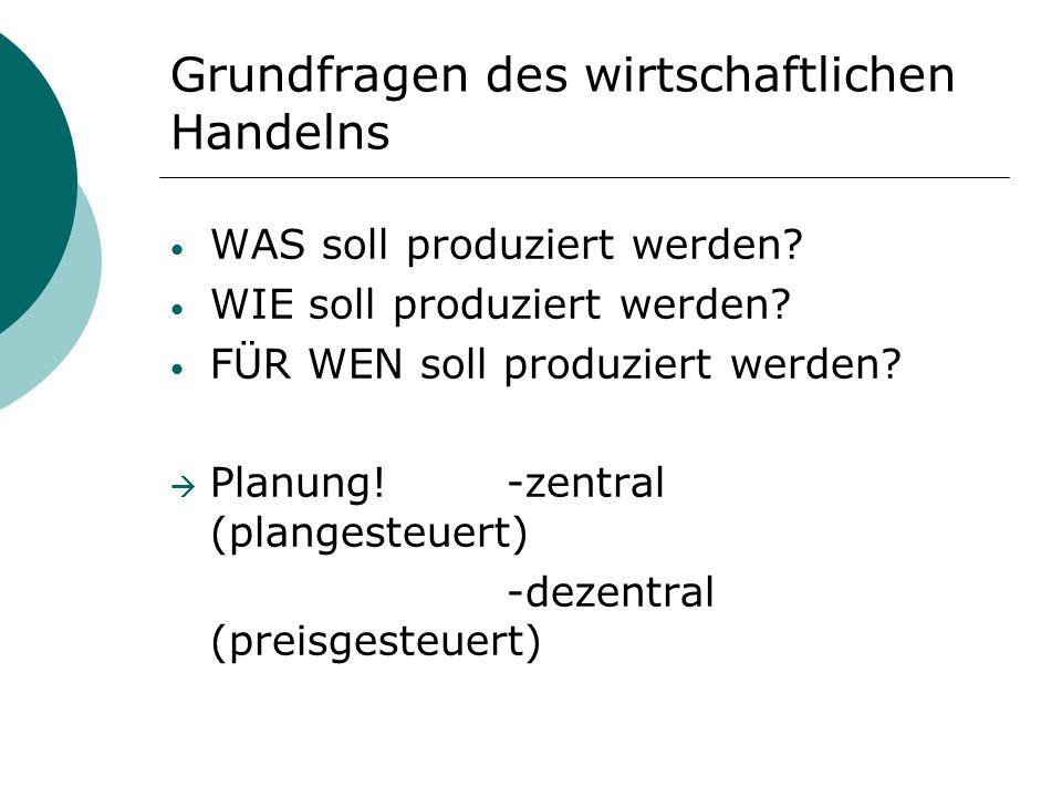 Grundfragen des wirtschaftlichen Handelns WAS soll produziert werden? WIE soll produziert werden? FÜR WEN soll produziert werden? Planung! -zentral (p
